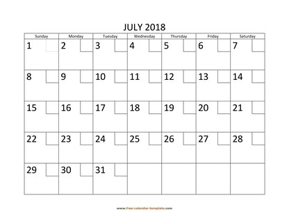 july 2018 calendar checkboxes horizontal