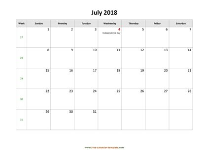 july 2018 calendar holidays horizontal