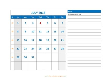 july 2018 calendar largenotes horizontal