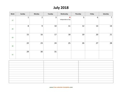 july 2018 calendar notes horizontal