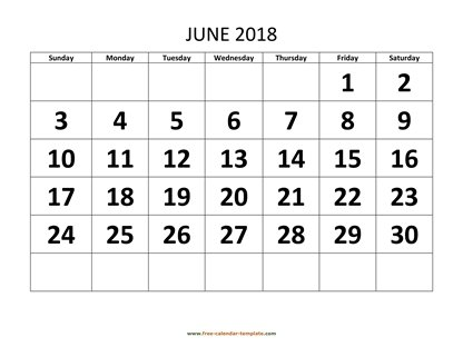 june 2018 calendar bigfont horizontal
