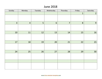 june 2018 calendar daycolored horizontal