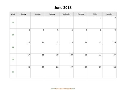 june 2018 calendar holidays horizontal
