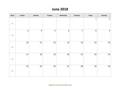 june 2018 calendar simple horizontal