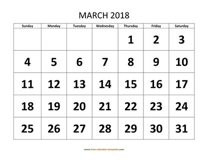 march 2018 calendar bigfont horizontal
