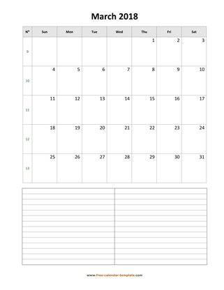 march 2018 calendar notes vertical