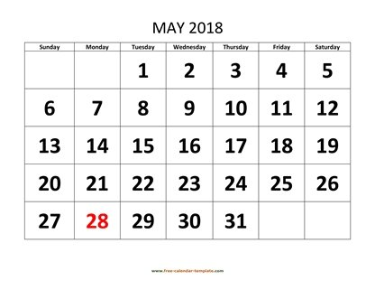 may 2018 calendar bigfont horizontal