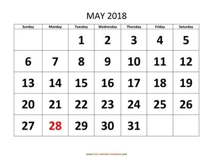 May 2018 Free Calendar Tempplate | Free-calendar-template.com