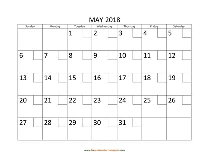 may 2018 calendar checkboxes horizontal