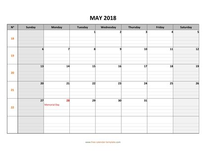 may 2018 calendar daygrid horizontal