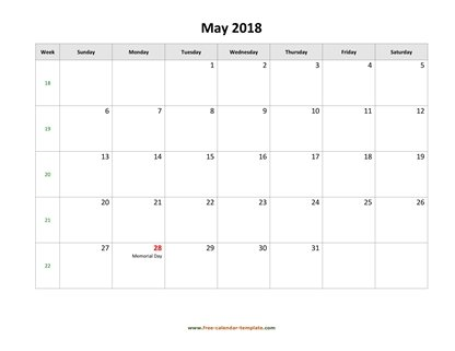 may 2018 calendar holidays horizontal