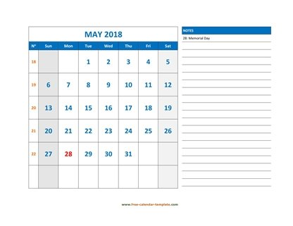 may 2018 calendar largenotes horizontal