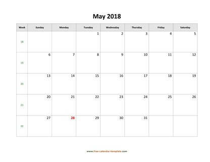 may 2018 calendar simple horizontal