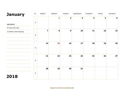 Printable Monthly Calendar 2018 Free Calendar Template