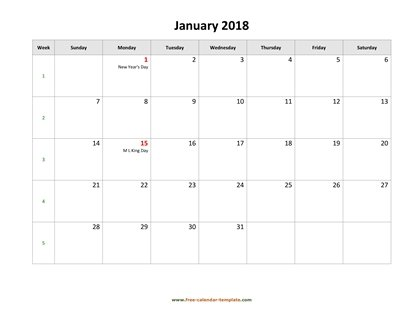 monthly 2018 calendar holidays horizontal