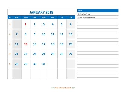 monthly 2018 calendar largenotes horizontal