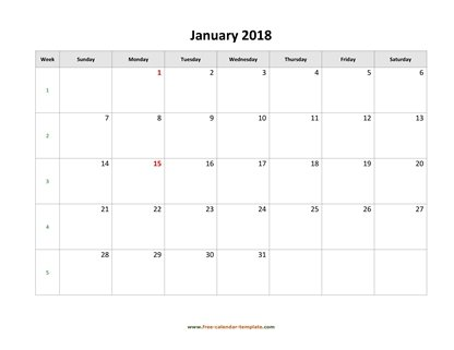 monthly 2018 calendar simple horizontal