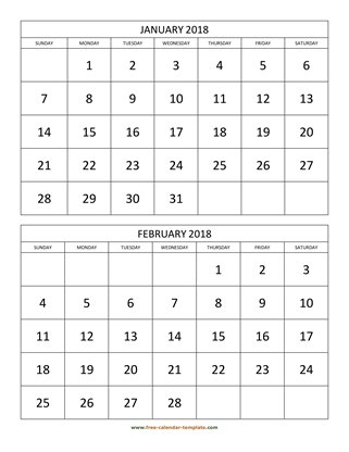 monthly 2018 calendar two months vertical