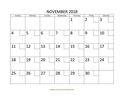 november 2018 calendar checkboxes horizontal