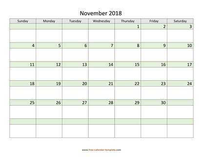 november 2018 calendar daycolored horizontal