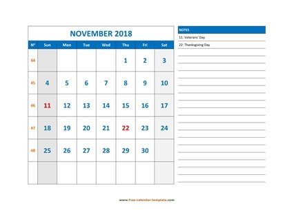 november 2018 calendar largenotes horizontal