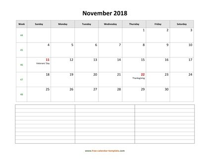 november 2018 calendar notes horizontal