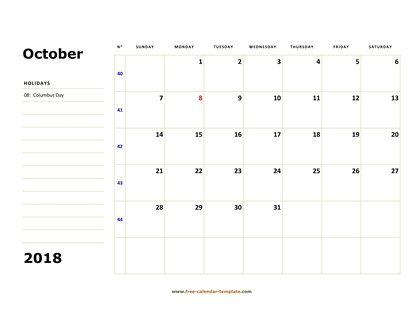 october 2018 calendar boxnotes horizontal