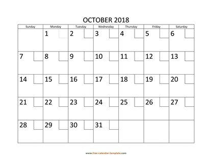 october 2018 calendar checkboxes horizontal
