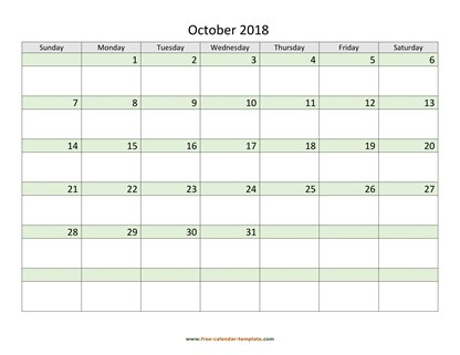 october 2018 calendar daycolored horizontal