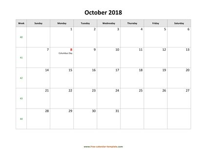 october 2018 calendar holidays horizontal