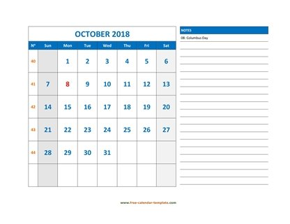 october 2018 calendar largenotes horizontal