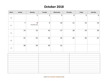 october 2018 calendar notes horizontal