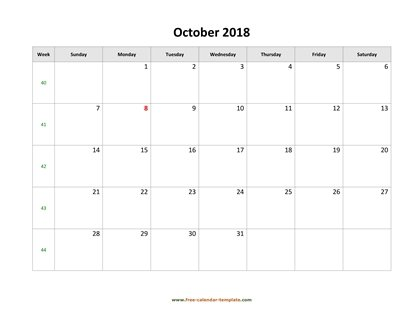 october 2018 calendar simple horizontal