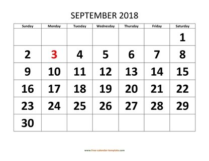 september 2018 calendar bigfont horizontal