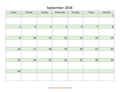 september 2018 calendar daycolored horizontal