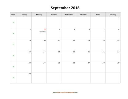 september 2018 calendar holidays horizontal