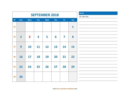september 2018 calendar largenotes horizontal