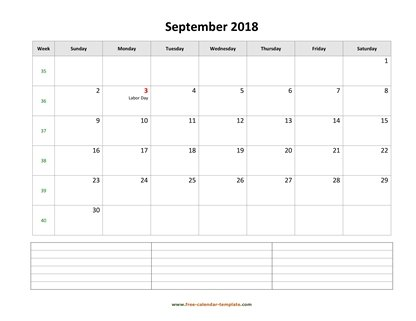 september 2018 calendar notes horizontal