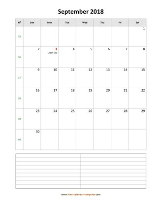 september 2018 calendar notes vertical