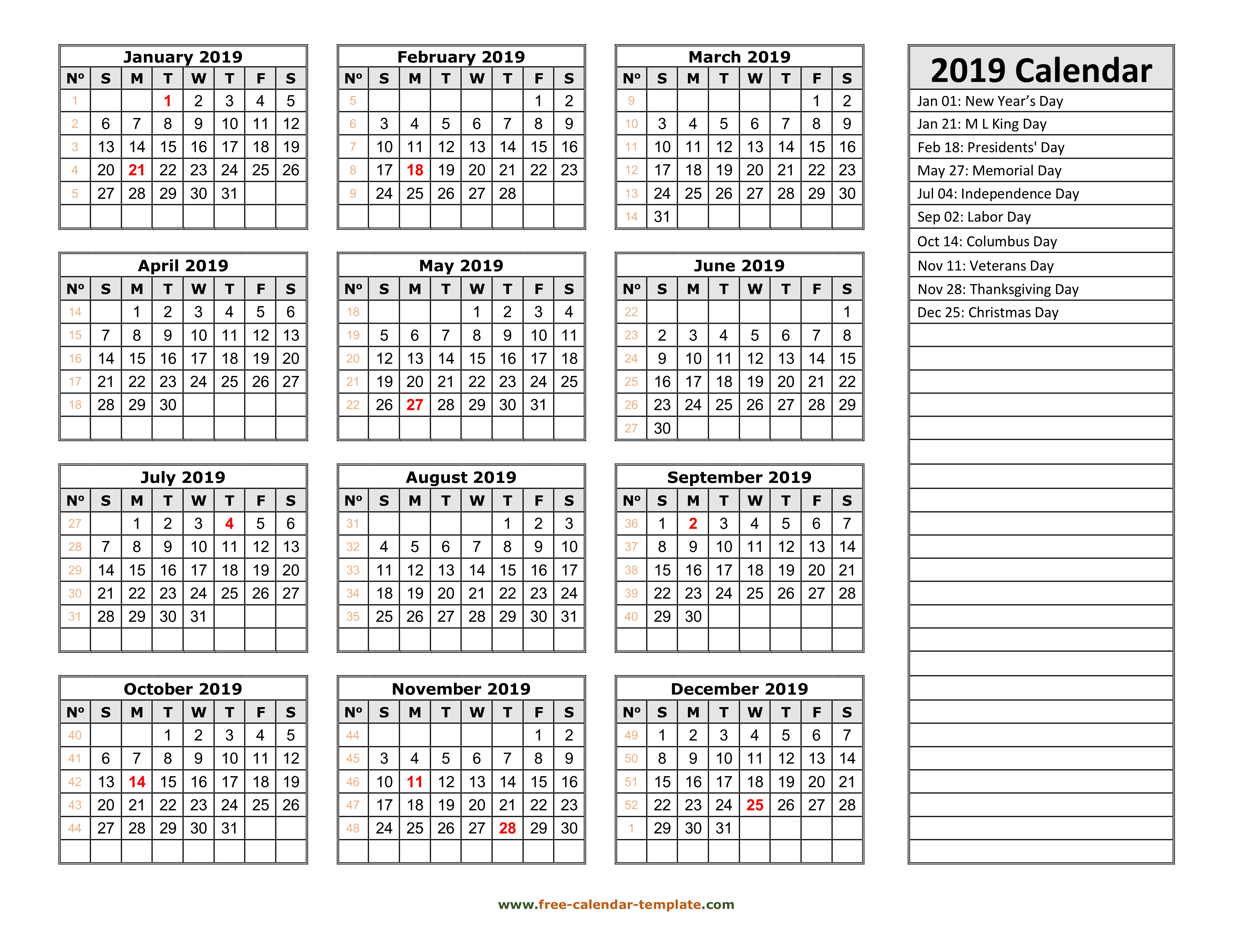 2019 yearly calendar printable with week numbers | Free-calendar ...
