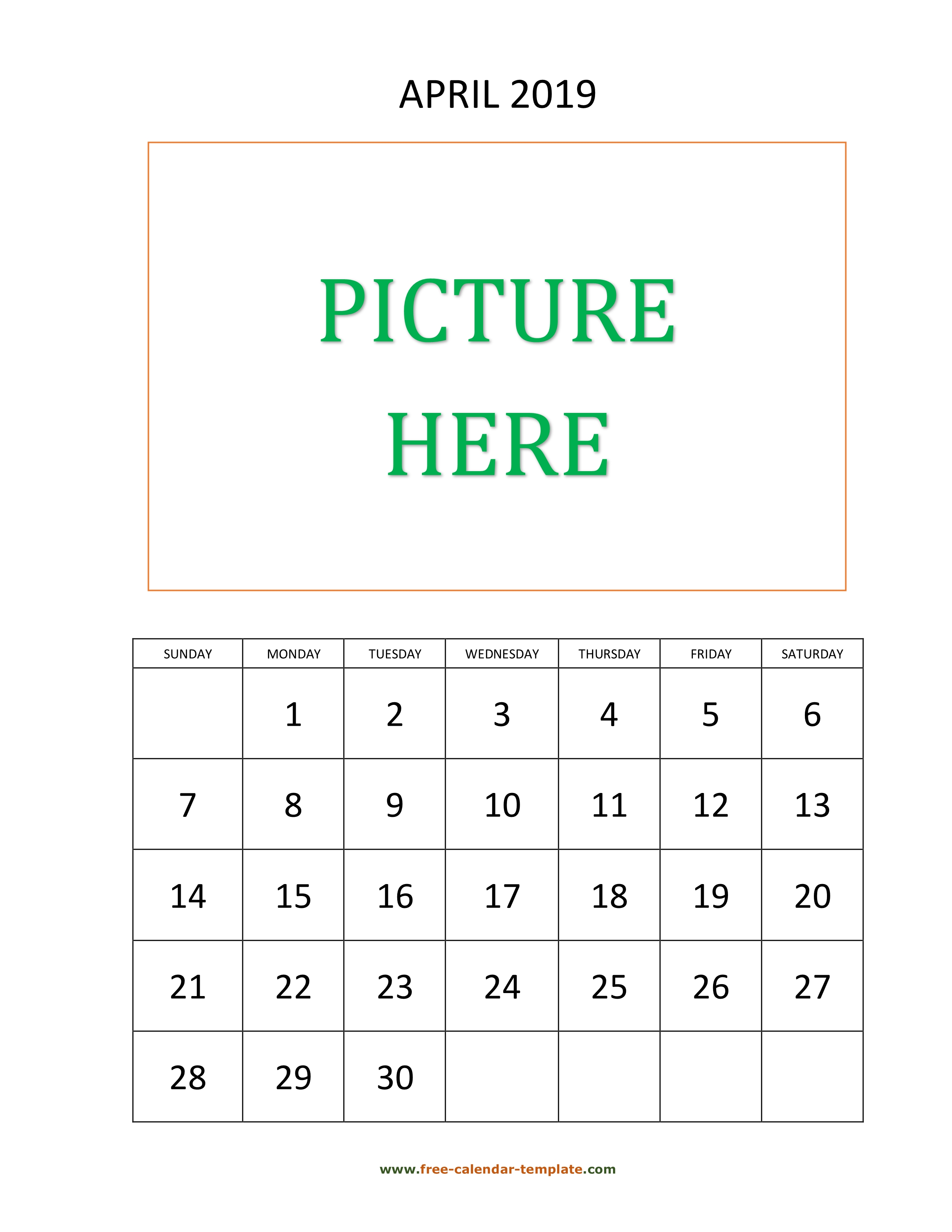 April Printable 2019 Calendar, space for add picture
