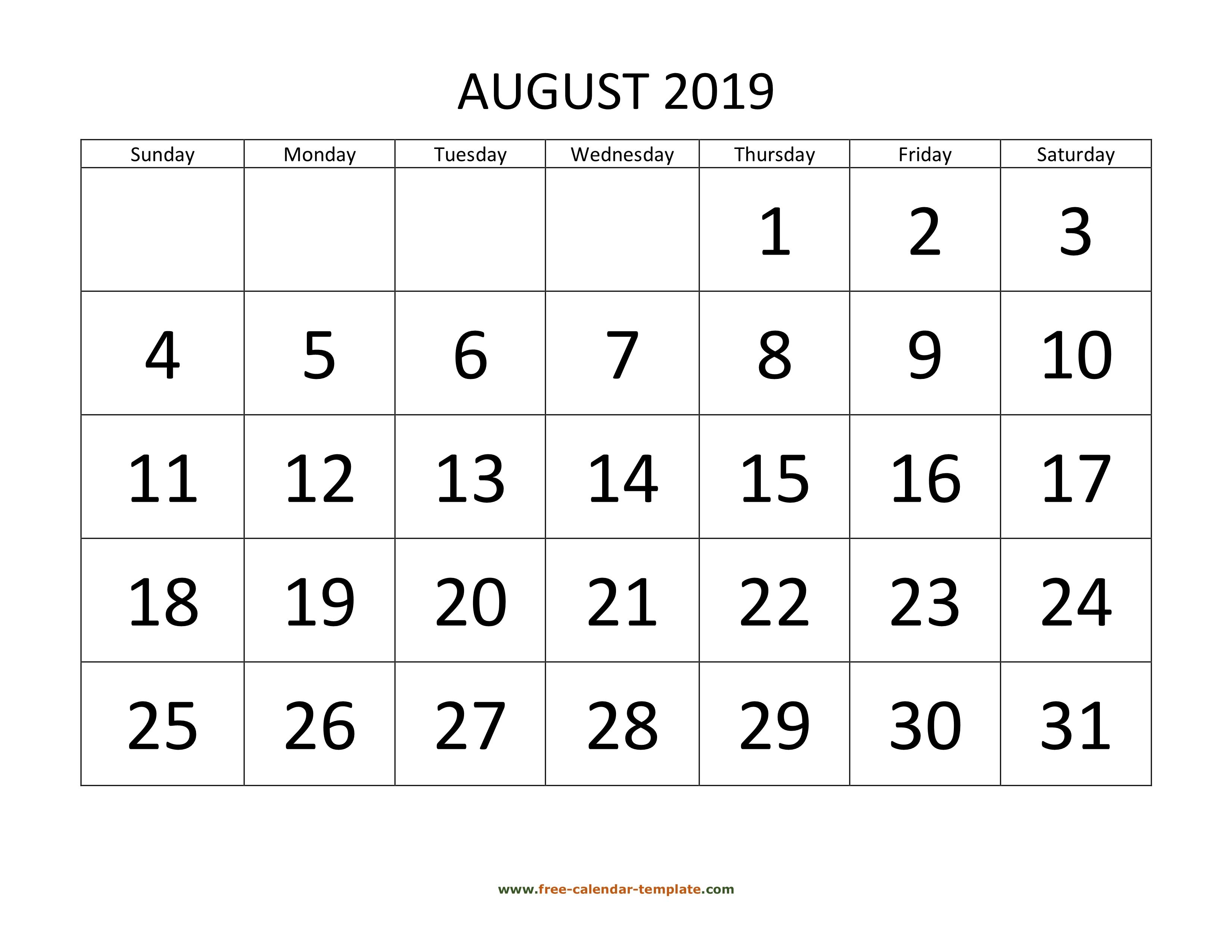 August 2019 Calendar.August 2019 Free Calendar Tempplate Free Calendar Template Com