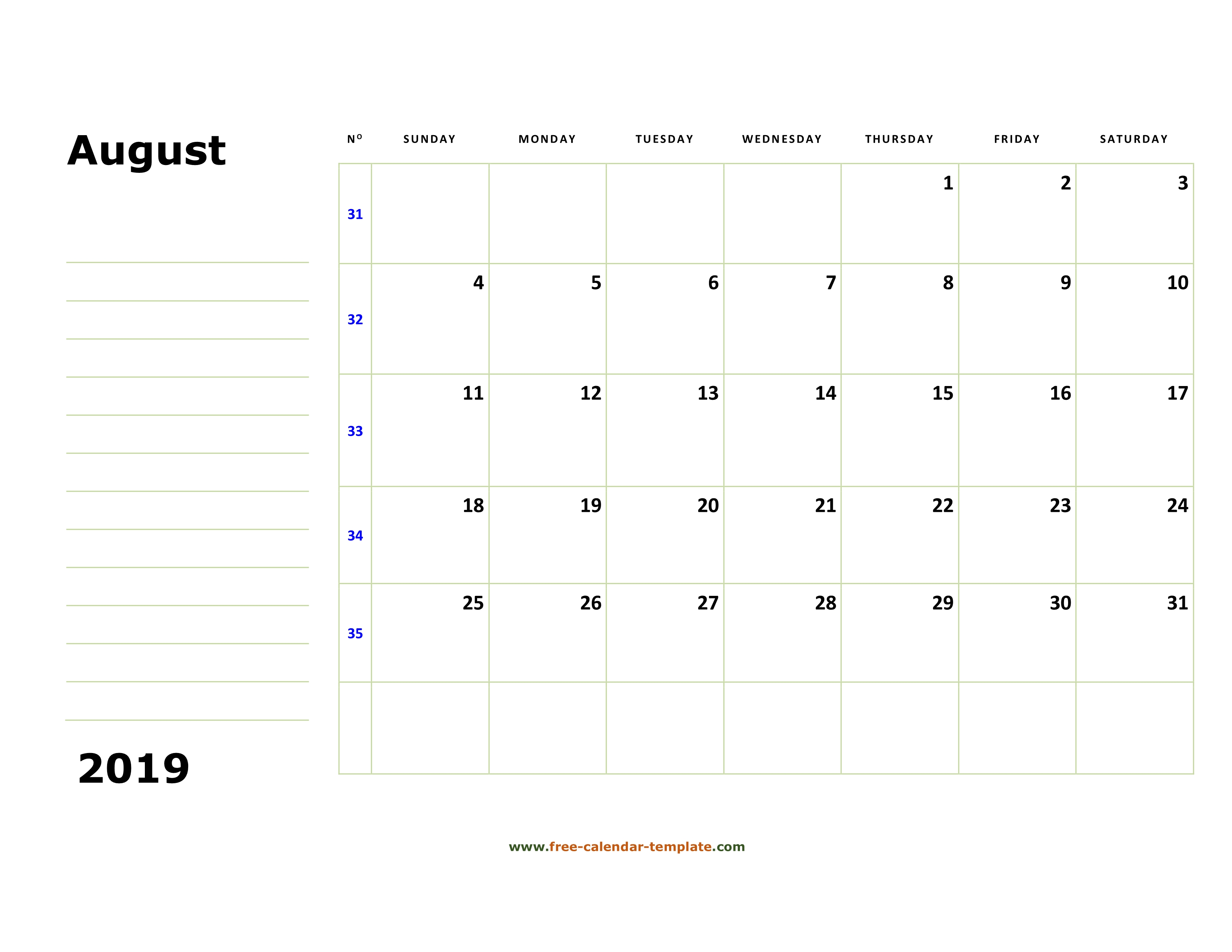 picture regarding Free August Calendar Printable titled Printable August 2019 Calendar (box and strains for notes