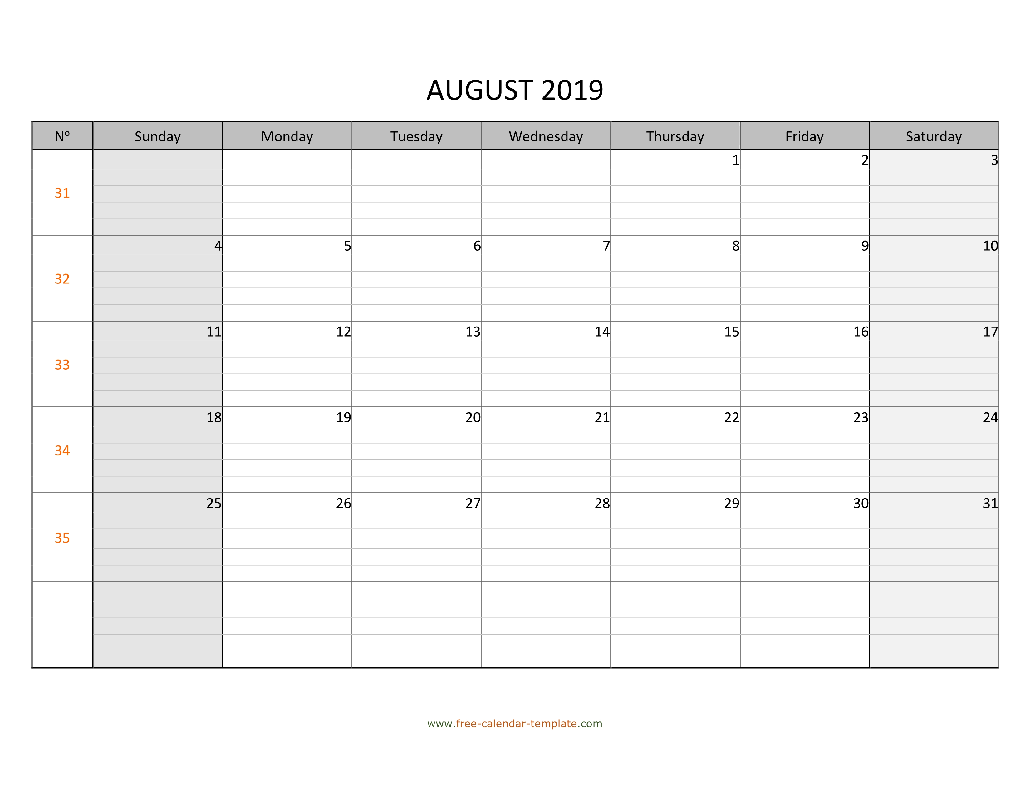 photograph regarding Printable Aug Calendar known as August 2019 Calendar Cost-free Printable with grid strains produced