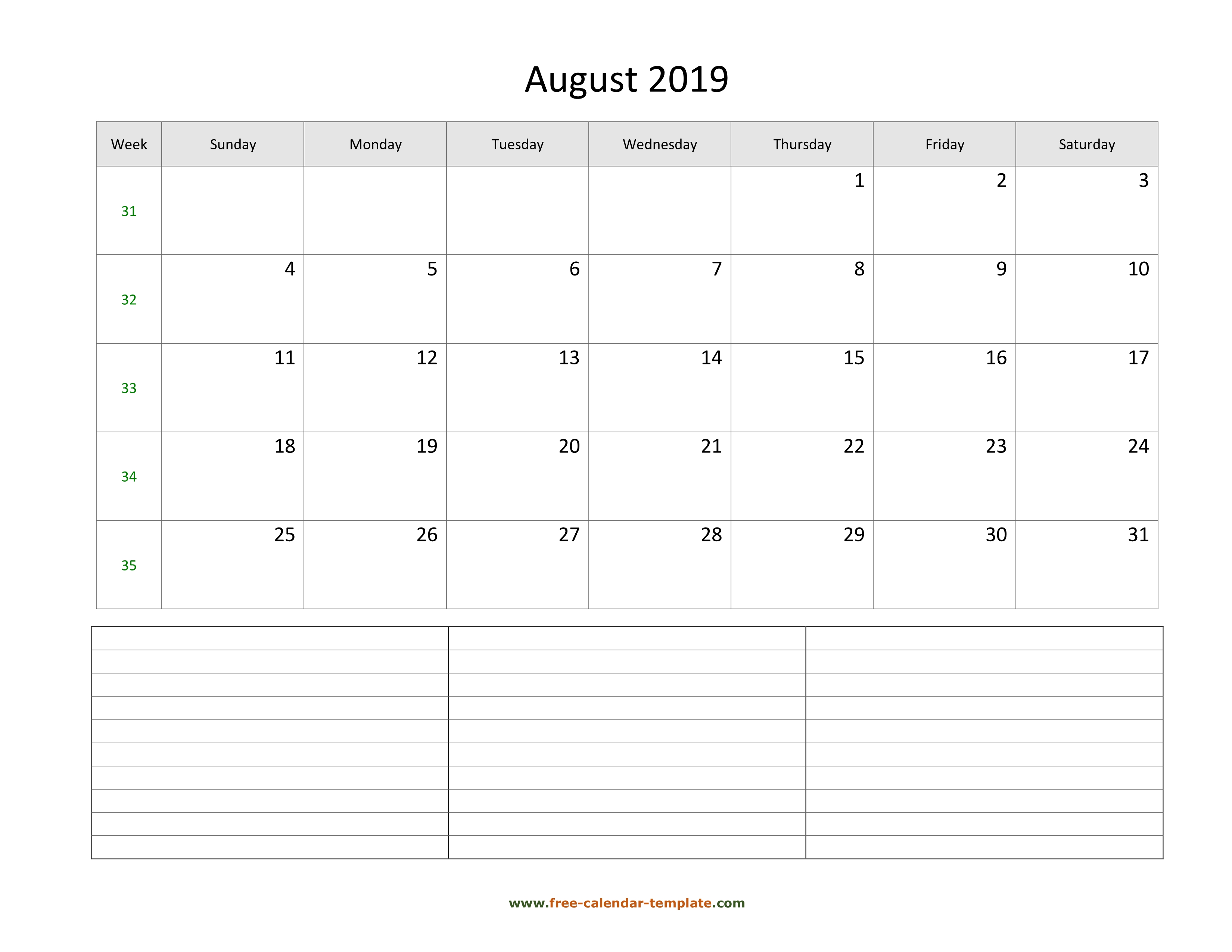2019 Printable August Calendar With Space For Appointments