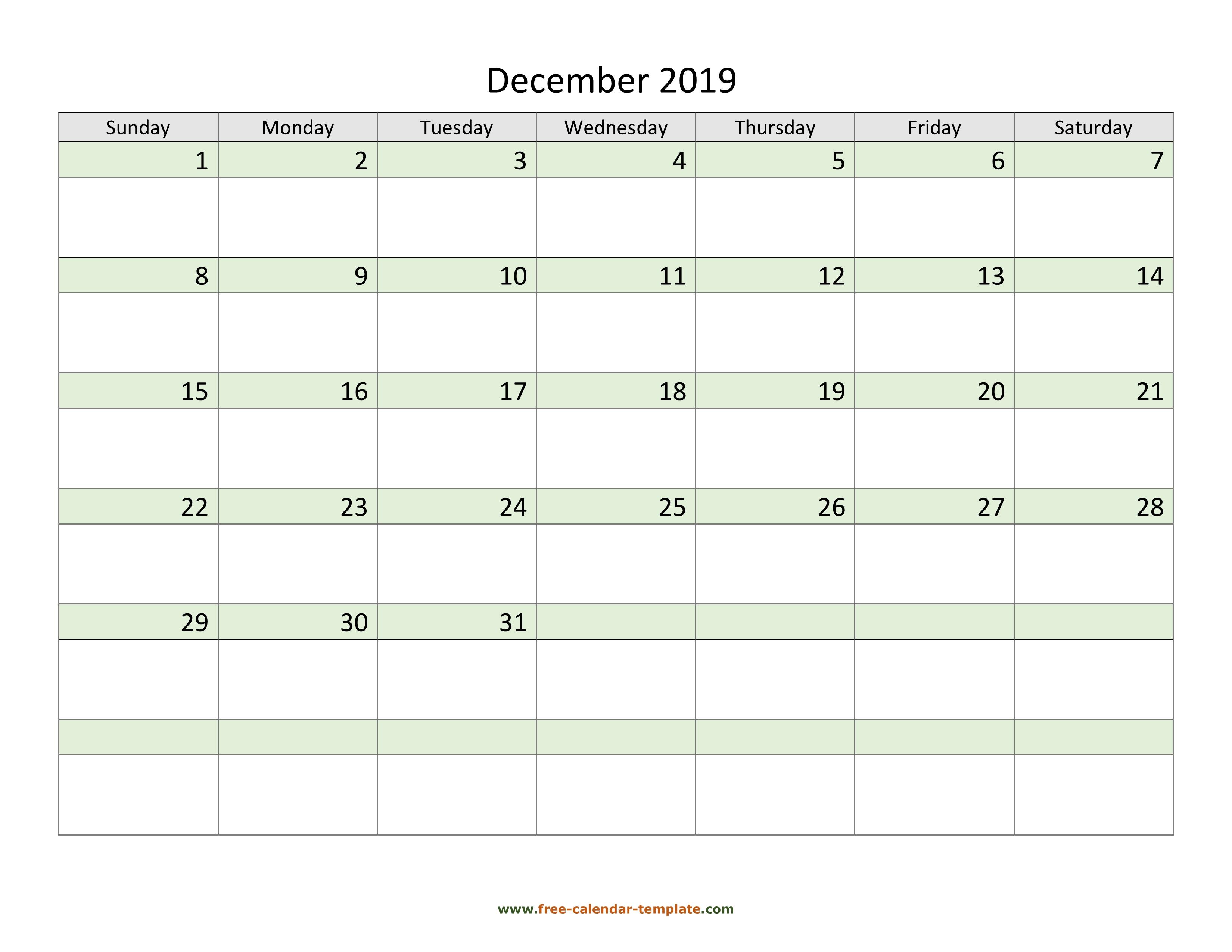 Free Horizontal December 2019 Calendar Free December 2019 Calendar, coloring on each day (horizontal