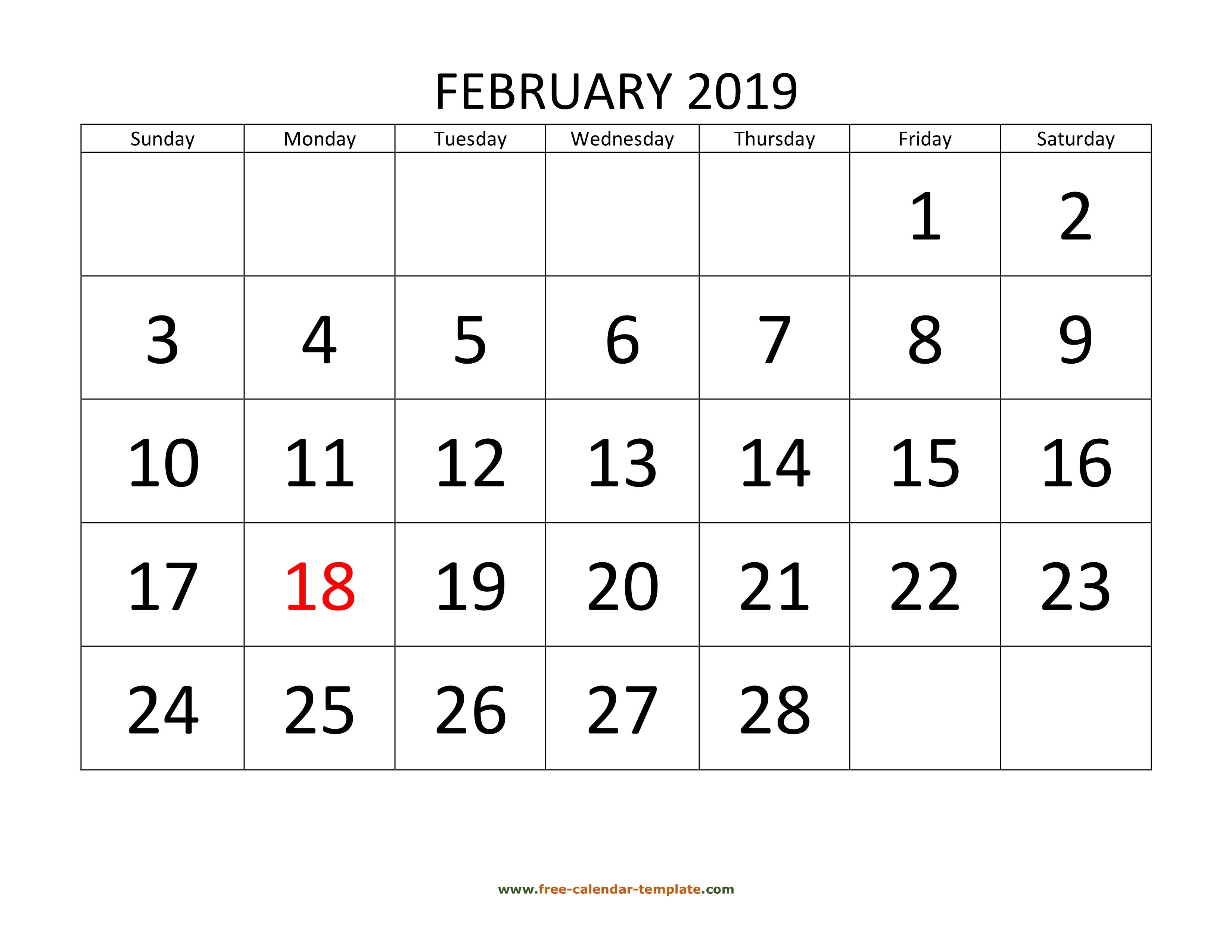 Calendar February 2020 Calendartemplatecom February 2019 Free Calendar Tempplate | Free calendar template.com