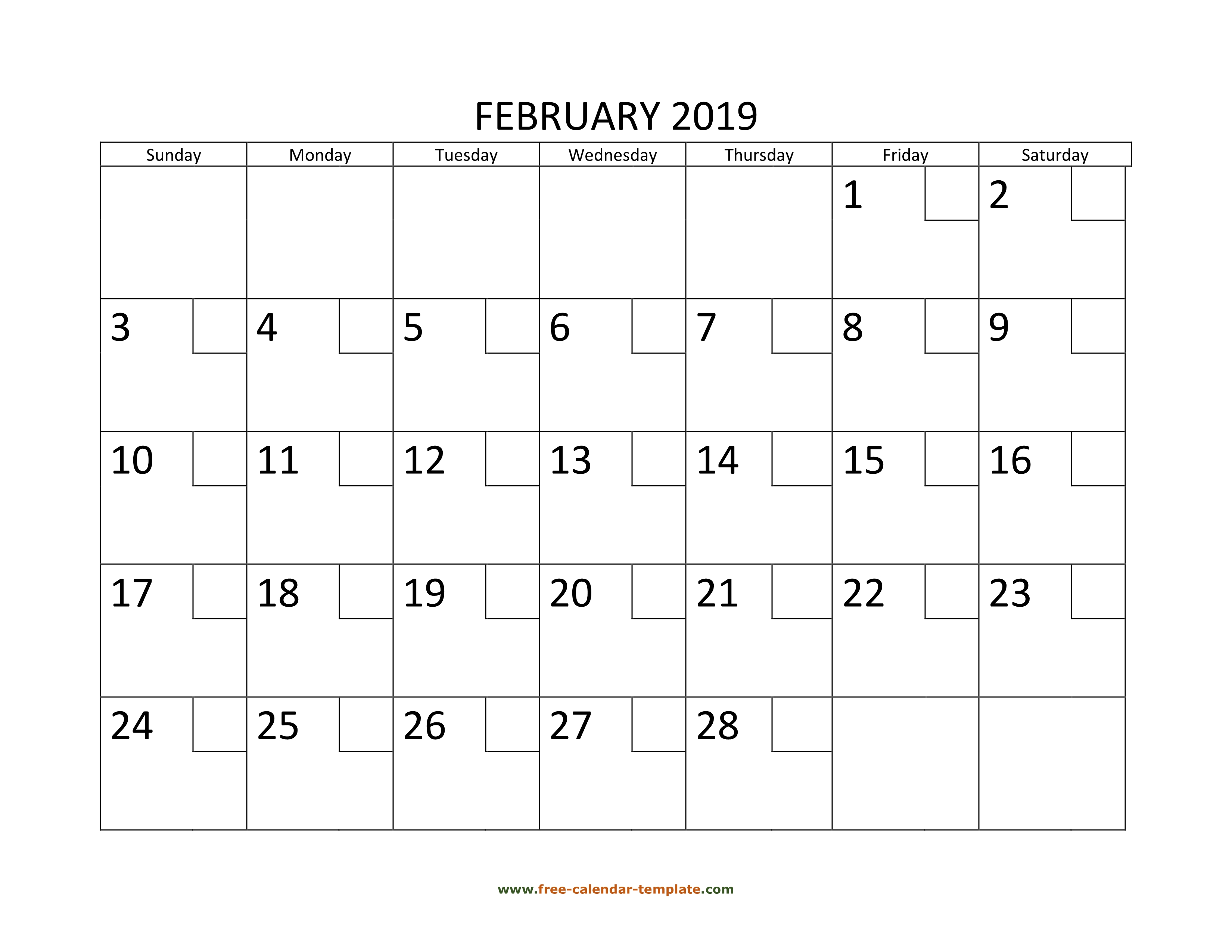 Calendar February 2019 Calendartemplatecom February Calendar 2019 Printable with checkboxes (horizontal