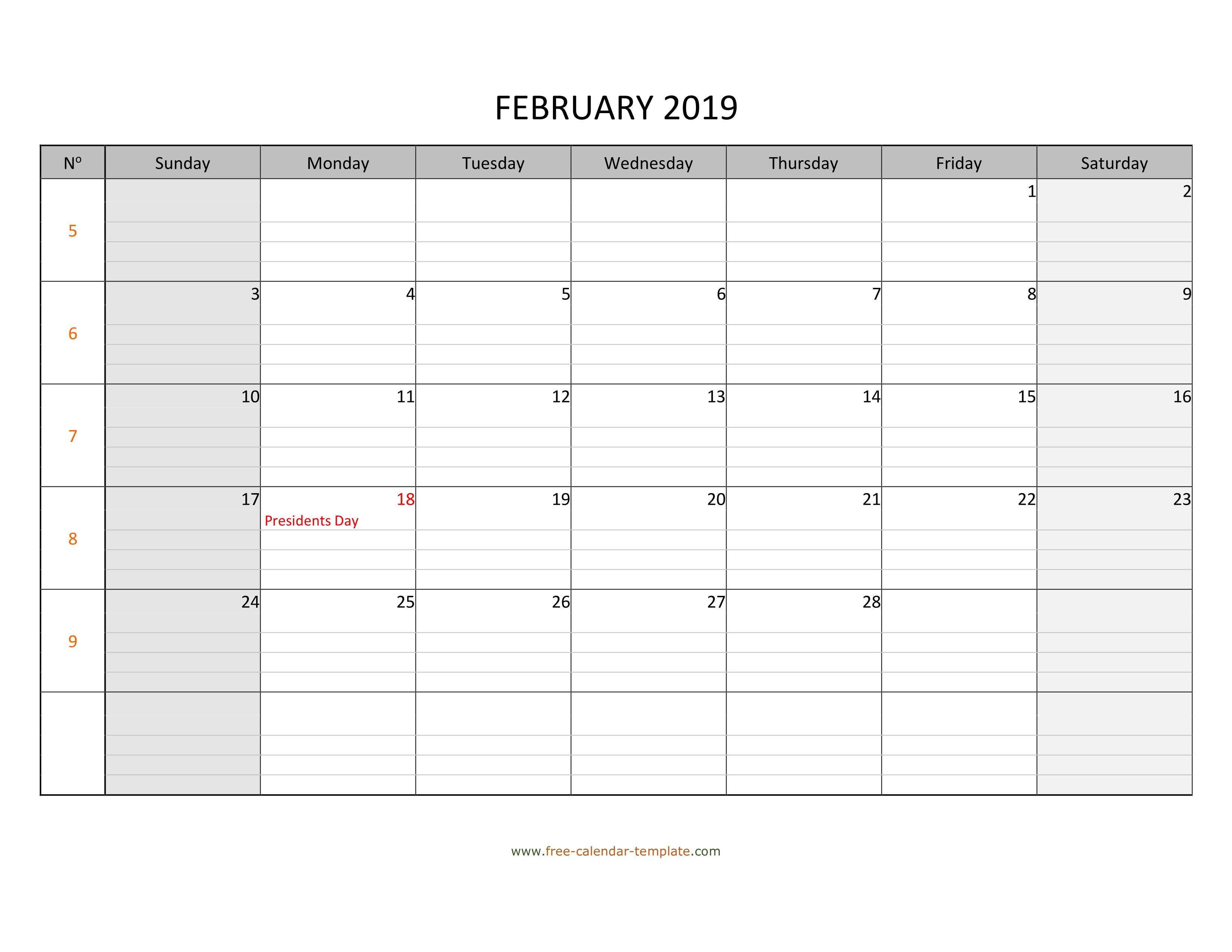February 2019 Calendar Free Printable With Grid Lines Designed