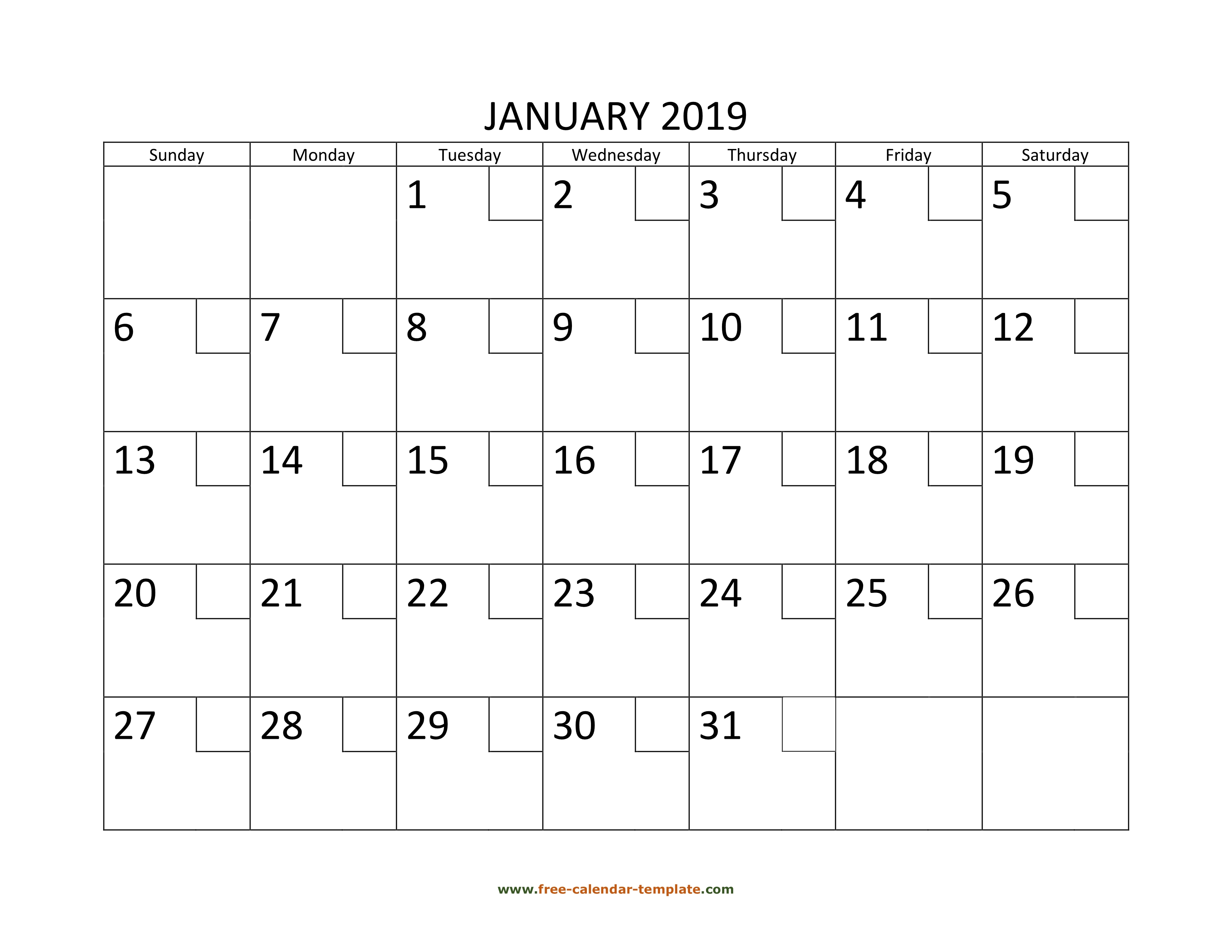 January Calendar 2019 Printable With Checkboxes Horizontal